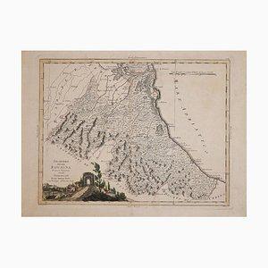 Antonio Zatta, Ancient Map of Romagna, aguafuerte original, 1783
