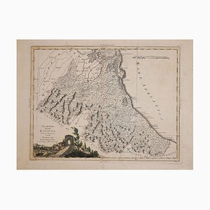 Antonio Zatta, Ancient Map of Romagna, Original Etching, 1783