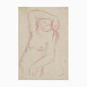 Voltolino Fontani, Akt der Frau, Original Pastell Zeichnung, 1960