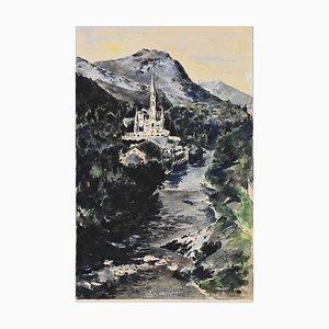 Aquarelle et Tempera Originale de Lourdes, milieu 20ème Siècle
