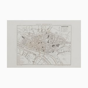 Map of Paris, Original Etching, 19th Century