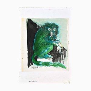 Leo Guida, The Owl, Original Mixed Media Zeichnung, 1970