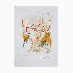 Leo Guida, Preis, Weibliches Portrait, Original Lithographie, 1966