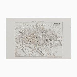 Desconocido, mapa de Rouen, aguafuerte original, siglo XIX