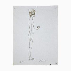 Leo Guida, Standing Girl, Original Ink Drawing by Leo Guida, 1970