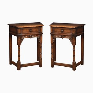 17th Century Style Oak Side Tables, Set of 2