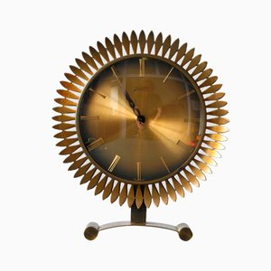 Brass Sunburst Table Clock from Atlanta Univers Junghans, 1960s