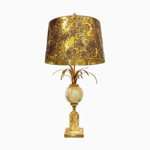 Lampada da tavolo in ottone e marmo con ananas, anni '60