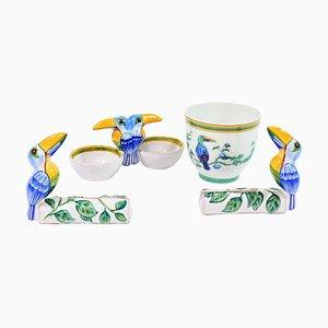 Hermes Paris toucans Moustiers, A Salt Cellar, Two Menu Holders, A Goblet