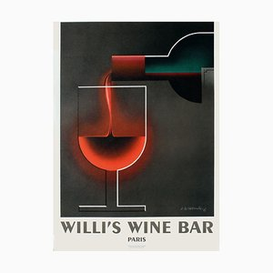 Cassandre A.M. Poster, 1983, Willi's Wine Bar