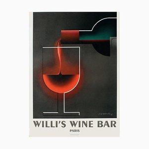 Cassandre AM Poster, 1983, Willi's Wine Bar
