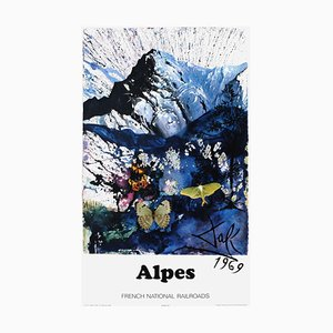 Large French Alpes Poster by Salvador Dali for SNCF