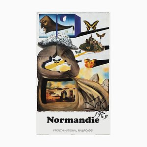 Large French Normandie Poster by Salvador Dali for SNCF