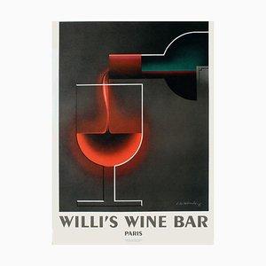 Willi's Weinbar Poster von Adolphe Cassandre