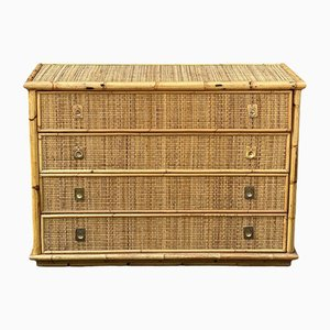 Mid-Century Italian Bamboo & Rattan Chest of Drawers by Dal Vera, 1960s