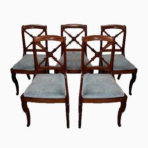 Sedie da pranzo in mogano, XIX secolo, set di 5