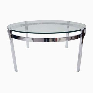 Round Chrome & Smoked Glass Coffee Table, 1970s