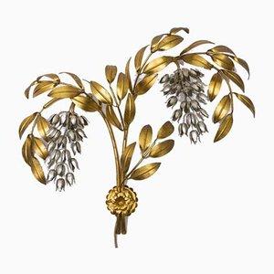 Applique a forma di palma in metallo dorato di Hans Kögl, Germania, anni '70