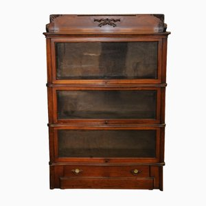 Antique Oak 3-Tier Barrister's Bookcase with Bottom Drawer
