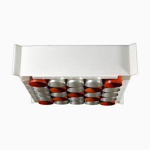Italian Space Age Plexiglass & Aluminium Ceiling Lamp, 1960s