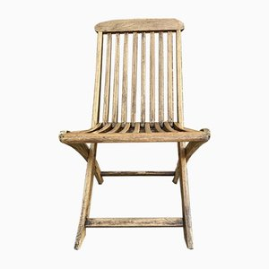 Teak Folding Deck Chair with Slat Back from Scan Com, 1960s
