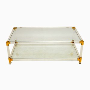 Vintage Italian Glass, Brass & Acrylic Coffee Table, 1970's
