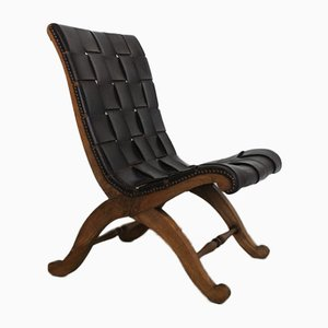 Mid-Century Leather & Wood Slipper Chair by Pierre Lottier for Valenti