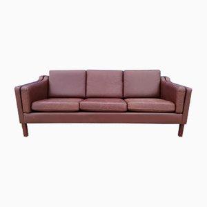 Danish Brown Leather 3-Seater Sofa, 1970s