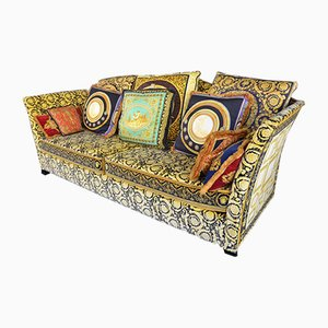 Vintage Silk & Velvet Sofa with Cushions by Gianni Versace