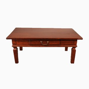 Antique Coffee Table with Central Drawer, 1800s