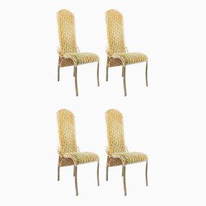 Goldene Vintage Metall Esszimmerstühle, 1970er, 4er Set