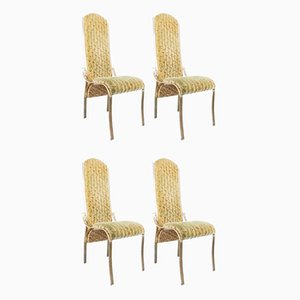 Vintage Golden Metal Dining Chairs, 1970s, Set of 4