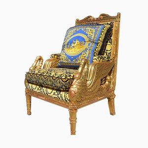 Gold Velvet & Silk Gooseneck Armchair by Gianni Versace, 1980s