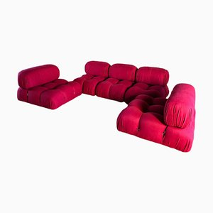 Red Cotton Camaleonda Modular Sofa by Mario Bellini for B&B Italia / C&B Italia, 1974, Set of 5