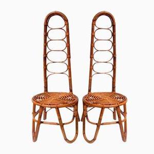Rattan Chairs in the Style of Dirk van Sliedregt, 1950s, Set of 2