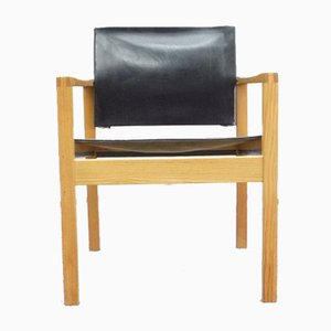 Leather & Ash Wood Armchair, 1960s