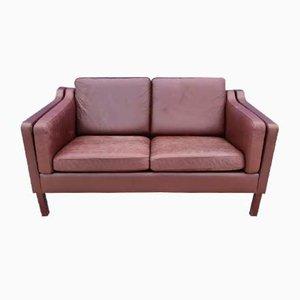 Danish Brown Leather 2-Seater Sofa, 1970s