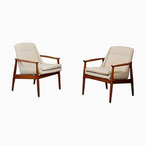 Swedish Cotton Lounge Chairs, 1950s, Set of 2