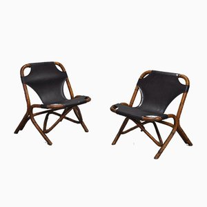 Bamboo & Leather Lounge Chairs, 1970s, Set of 2