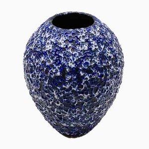 Große deutsche Fat Lava Vase in Blau & Weiß von ES Keramik, 1950er