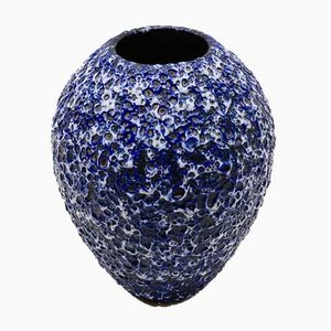 Large German Blue & White Fat Lava Vase from ES Keramik, 1950s