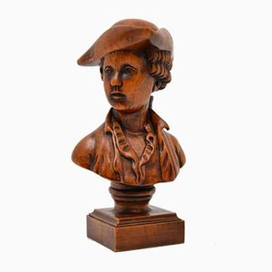 Mid-Century Carved Wood Bust of a Sailor