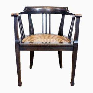 Sedia in stile Biedermeier in legno e canna, anni '50