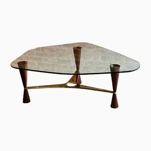 Vintage Brass, Walnut & Glass Model 5309 Coffee Table by Edward Wormley for Dunbar USA, 1950s