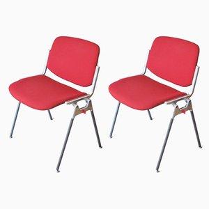 Rote Esszimmerstühle von Giancarlo Piretti für Castelli / Anonima Castelli, 1970er, 2er Set