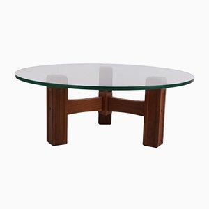 Tavolino da caffè brutalista rotondo, anni '70