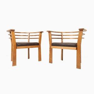 Dänische Vintage Eichenholz Armlehnstühle, 1970er, 2er Set