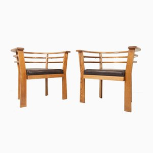 Vintage Danish Oak Armchairs, 1970s, Set of 2