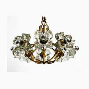Mid-Century Modern Brass & Glass Chandelier by Simon und Schelle for SiSche, 1960s