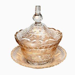 Cuenco Beykoz otomano turco antiguo con tapa y placa inferior. Juego de 3